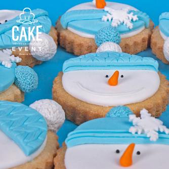 Shortbread biscuits snowman face, christmas flavors